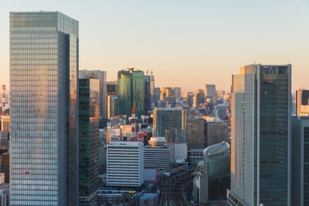 view to railway station in tokyo city, japan