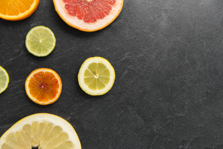 close up of different citrus fruit slices
