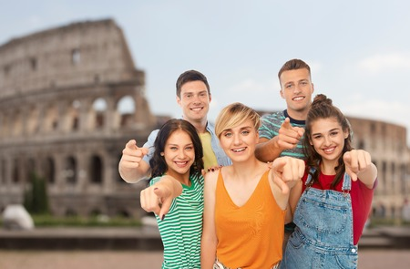 friends pointing at you over coliseum background