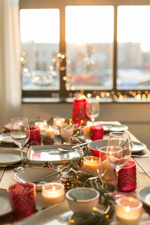 table served for christmas dinner at home Stock Photo
