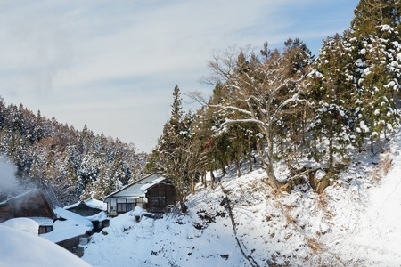 country houses and forest hills in winter, japan 版權商用圖片