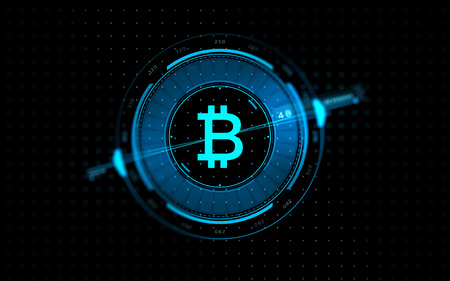 gold bitcoin projection over black background Banco de Imagens