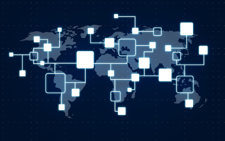 connection, communication and technology concept - network or block chain and world map over dark blue background 写真素材 - 110213790