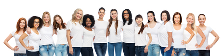 friendship, diverse, body positive and people concept - group of happy different size women in white t-shirts hugging Imagens