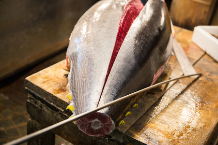 fresh gutted tuna fish at japanese street market