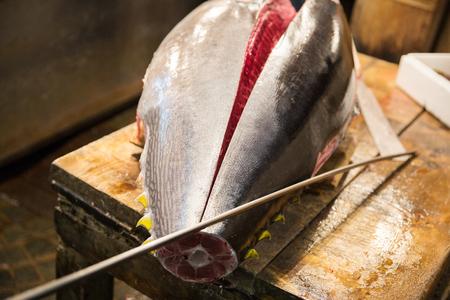 fresh gutted tuna fish at japanese street market