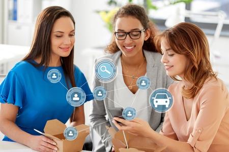 businesswomen using car sharing app on smartphone
