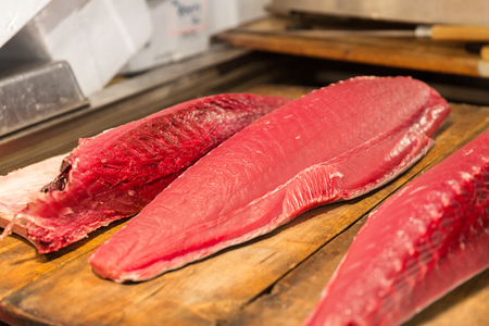 fresh tuna fish at japanese street market