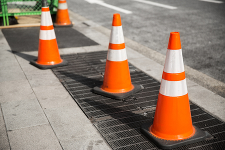 close up of traffic or road cones on city street Imagens