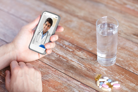 patient having video chat with doctor on cellphone