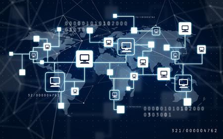 rete di computer virtuale e mappa del mondo