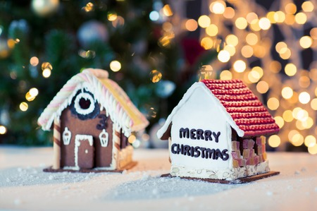 close up of christmas gingerbread houses