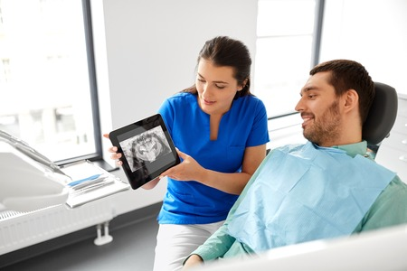 dentist showing panoramic dental x-ray to patient Stok Fotoğraf