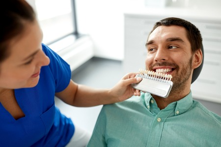 dentist choosing tooth color for patient at clinic Stock Photo