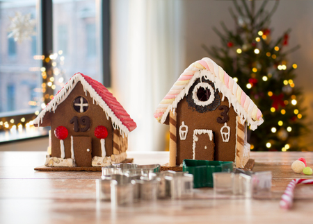 close up of christmas gingerbread houses at home