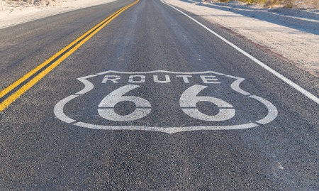 route 66 asphalt road in united states of america