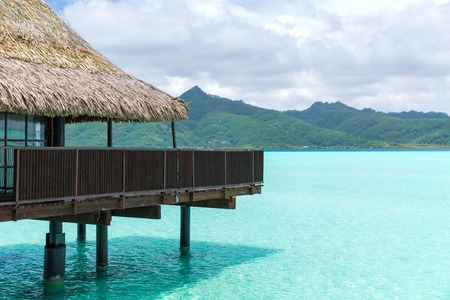 bungalow huts of resort in french polynesia Stock Photo
