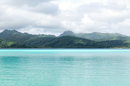 lagoon and mountains in french polynesia