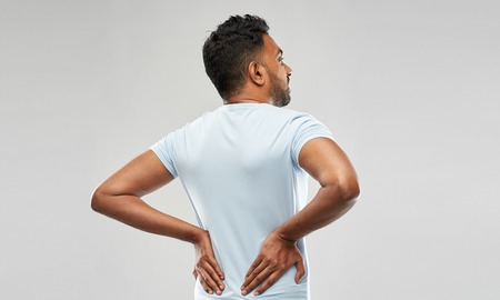indian man suffering from backache Stock Photo