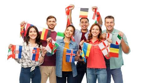 happy friends with flags of different countries