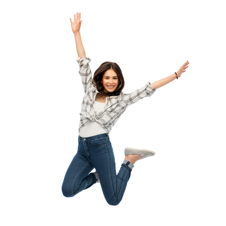 happy young woman or teenage girl jumping 스톡 콘텐츠