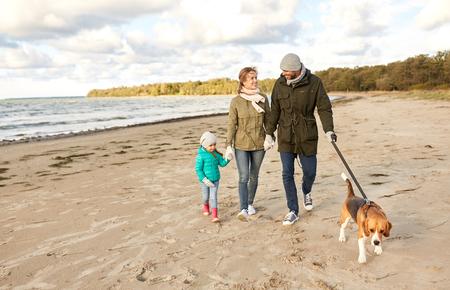 happy family walking with beagle dog on beach Archivio Fotografico - 112803271