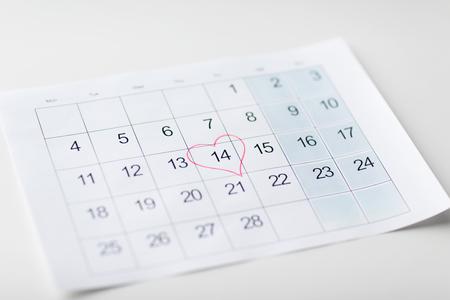 close up of 14th february date in calendar Banco de Imagens