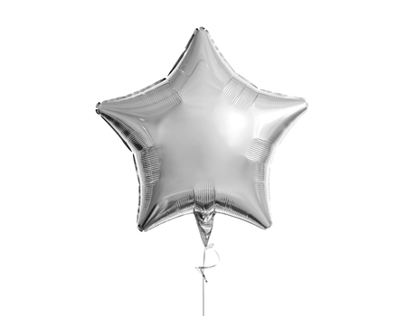 one silver star balloon over white background
