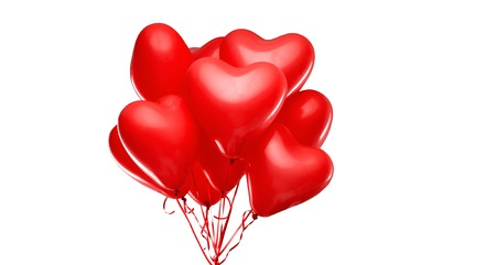 red heart shaped helium balloons on white Imagens