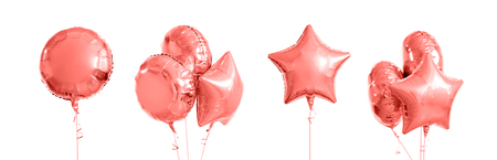 pink metallic gold helium balloons on white 版權商用圖片