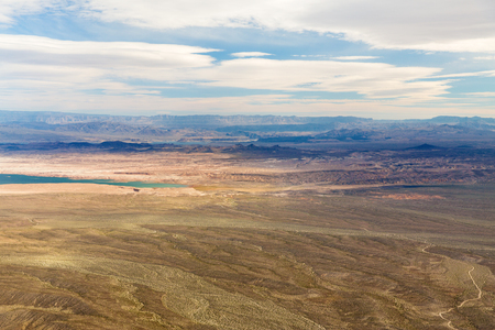 aerial view of grand canyon desert and lake mead