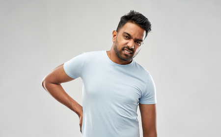 indian man suffering from backache Stock Photo - 113511195