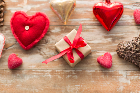 christmas gift and heart shaped decorations