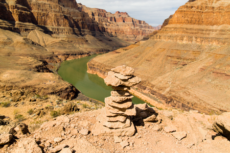 tower of rocks in grand canyon and colorado river Stock Photo