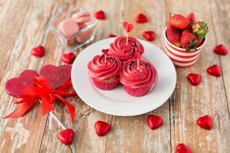 close up of red sweets for st valentines day Stockfoto
