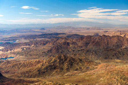 aerial view of grand canyon from helicopter Stock Photo