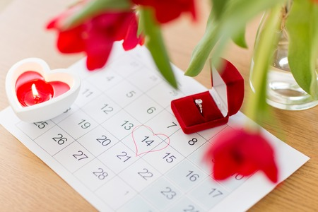 diamond ring and calendar sheet on valentines day