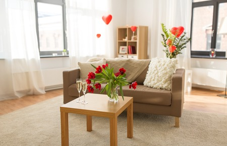 living room or home decorated for valentines day