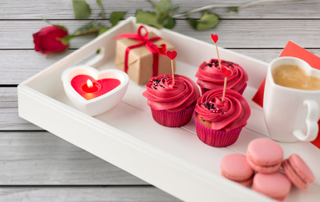 close up of red sweets for valentines day