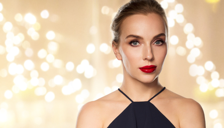 close up of beautiful woman with red lipstick Stock Photo