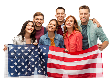 group of smiling friends with american flag