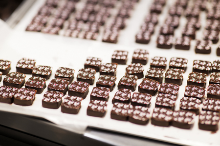 chocolate candies at confectionery shop