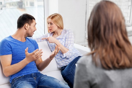 couple with problem at family psychologist office