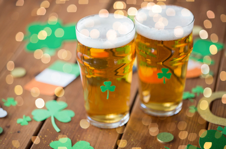 Glasses of beer and st patricks day party props
