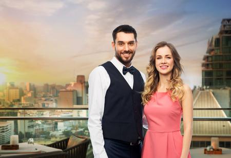 Happy couple over restaurant lounge