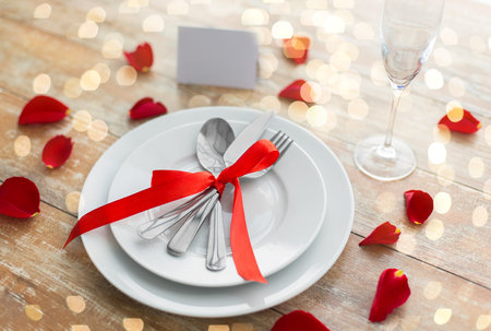 Close up of table setting for valentines day Stock Photo