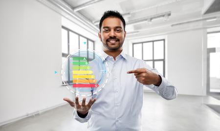 realtor with energy levels over empty office room 版權商用圖片