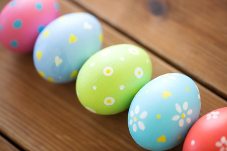 close up of colored easter eggs Stock Photo