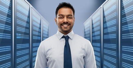 indian businessman over server room Stock fotó