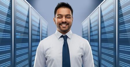 indian businessman over server room Stock Photo